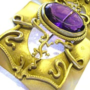 Art Nouveau Sash Pin with Lizards and Faceted Amethyst Colored Stone