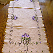 All Hand Embroidered Arts & Crafts Linen Table Runner 52.5 inches