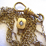 Victorian Ladies Gold Filled Watch Chain w/ Seed Pearl Slide