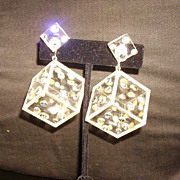 Mod Vendome Lucite & Rhinestone Dice Earrings