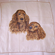 Vintage Printed Cocker Spaniel Dog Handkerchief
