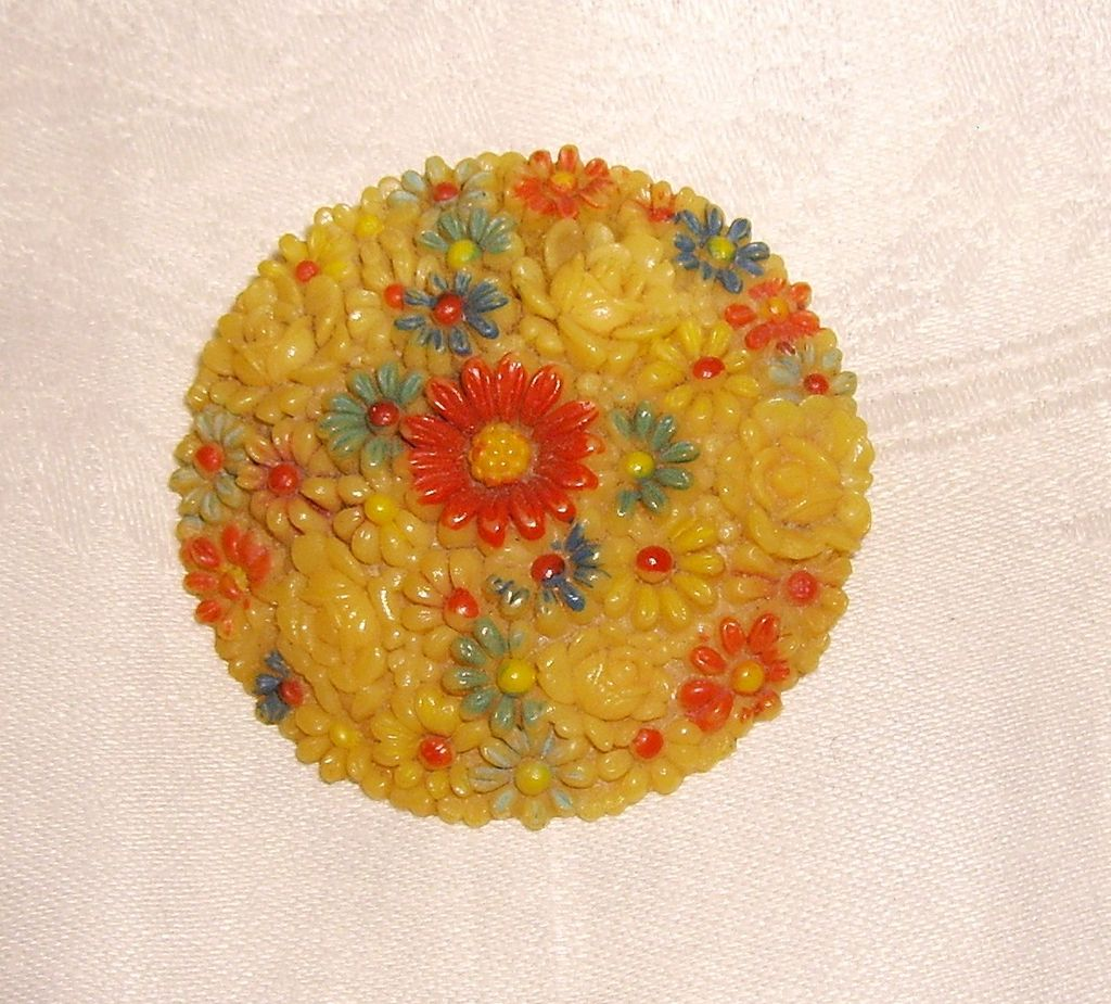 Vintage Celluloid Colored Rose & Daisy Celluloid Pin