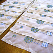 Organdy &quot;Rose Tree&quot; Madeira Embroidery Placemats Set of 12