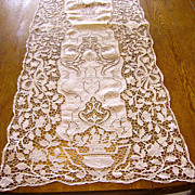 Fine Italian Needle Lace, Linen, & Hand Embroidered Table Runner 54""