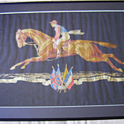 French Black Silk Taffeta Banner with Woven Horse & Jockey