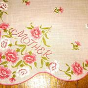"Vintage Printed ""MOTHER"" Handkerchief w/ Pink Carnations"