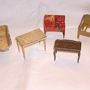 Set of Old Metal Tootsie Toy Metal Doll Furniture 8 Pieces