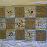 French Victorian Silk Baby Quilt with Silk Embroidery and Needle Lace