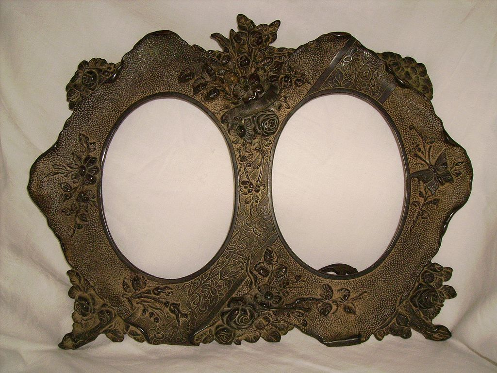 Victorian Bronze Double Picture Frame with Butterfly & Flowers