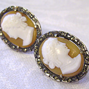 Art Deco 800 Silver & Marcasite Cameo Earrings with Screw Backs