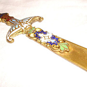 French Champleve Enamel Letter Opener or Bookmark