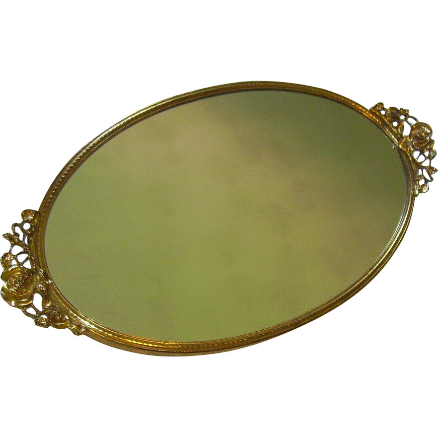 Vintage mirrored vanity tray by stylebuilt from for Mirrored bathroom tray