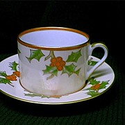 SALE Beautiful Fitz and Floyd 1982 Christmas Holly Cup and Saucer