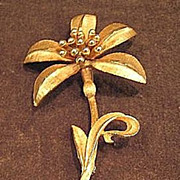 SALE Large Signed BSK Gold-Tone Floral Pin