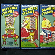 SALE Paper Sweetheart Mother Goose Drinking Straw Set of Three Mint Condition!