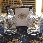 SALE Retired Shannon Godinger Crystal Turkey Salt and Pepper Shakers