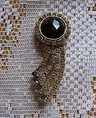 Beautiful Hobe Black Rhinestone Pin
