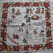 Vintage Cotton California Souvenir Handkerchief