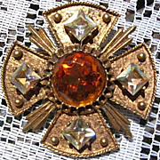 SALE Signed Dodds Maltese Cross Brooch Pin