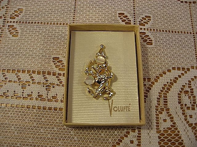Volupte Gold Tone Figural Clown Pin