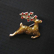 SALE Signed Metallic Reindeer Christmas Pin
