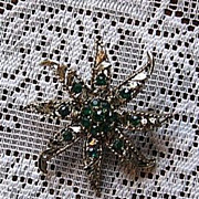 Signed Gerry's Green Star Rhinestone Pin