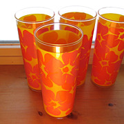 SALE Retro Flower Power Kitchen Glass Orange Pink Set