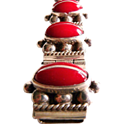Vintage Mexican sterling and coral red cab bracelet