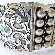 Aztec Mexican sterling abalone panel cuff