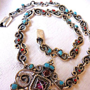 Vintage Taxco 925 silver and gemstone necklace