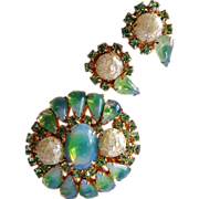 Unsigned vintage faux opal brooch and earrings