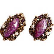 Vintage unsigned SELRO Renaissance Revival clip earrings