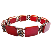 Art Deco German 830 silver and carnelian bracelet