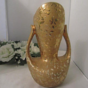SALE 24k Gold Vase Two Handle Flower Vase Made In USA Cameron Clay