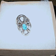 Native American Ring Turquoise Web Design Silver Large