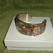 Abalone bangle bracelet Sterling Bangle