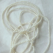 "Pearl Necklace 50"" Strand 3mm Cultured Pearls"