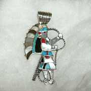 Indian Chief Pendant Turquoise Coral Onyx Sterling Native American