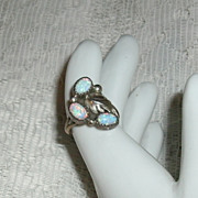 SALE Opal Native American Sterling Ring Navajo
