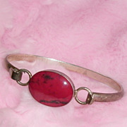 Sterling Silver Red Jasper Bangle Bracelet