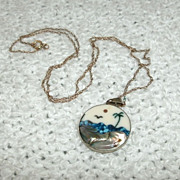 Sterling Beach Scene Turquoise Mother of Pearl Onyx