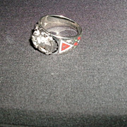 White Gold Diamond Shrine Ring Shriner Mason Man