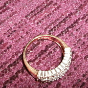 SALE Gold and Diamond Ring Baguettes and Solitaires
