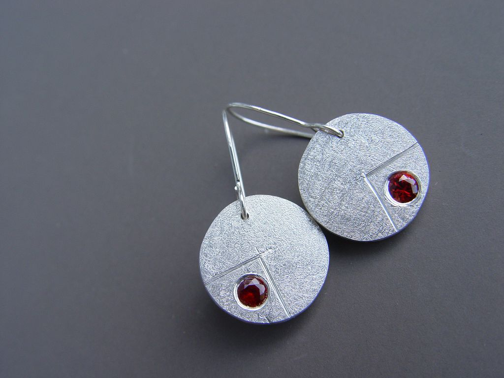 Scintillans - Fine Silver and Red Sapphire Earrings