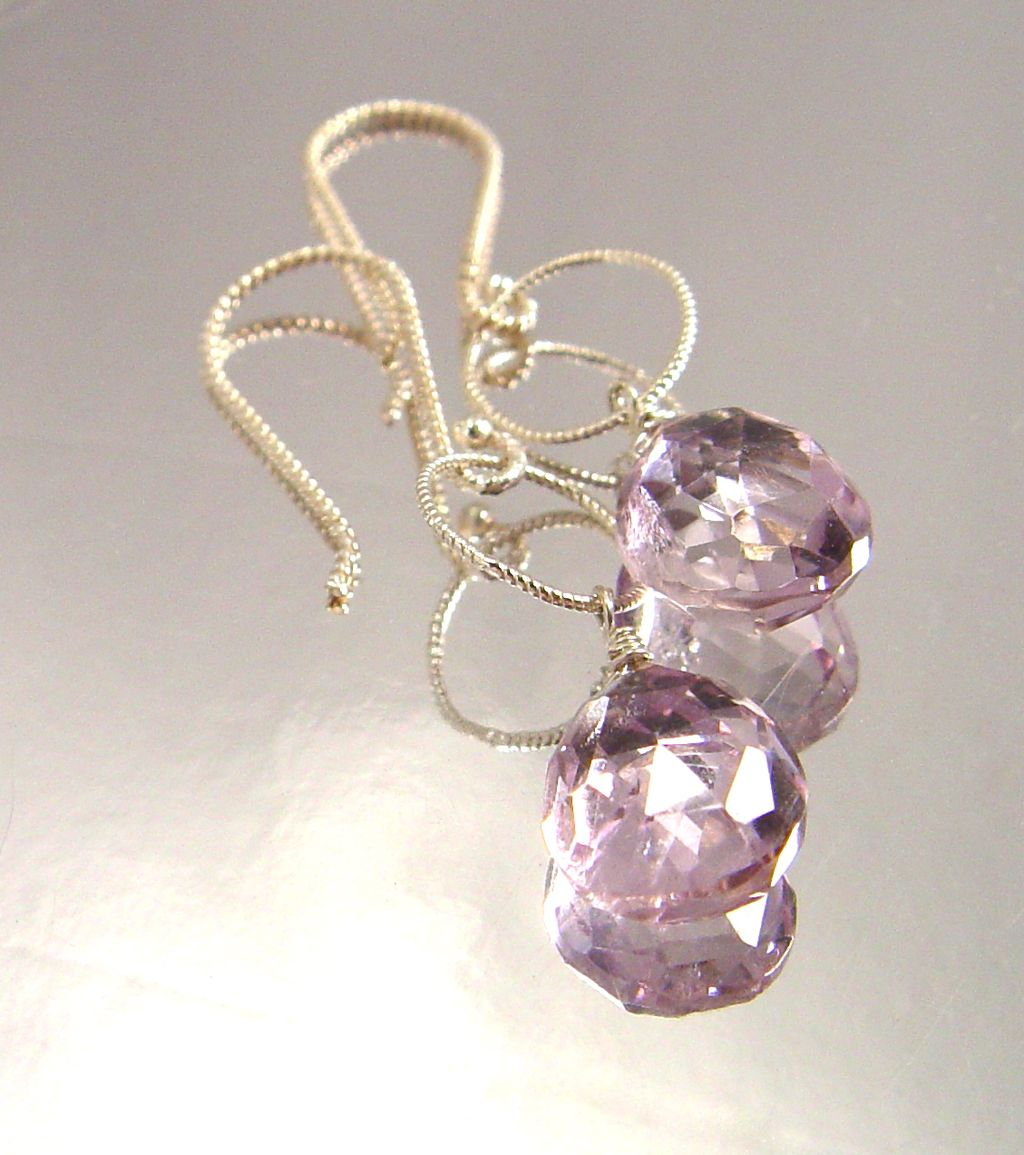 Eos Illuminata - Pink Amethyst and Sterling Silver Drops