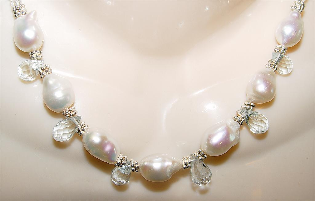 Metis - Aquamarine Gemstone and Baroque Freshwater Pearl Necklace