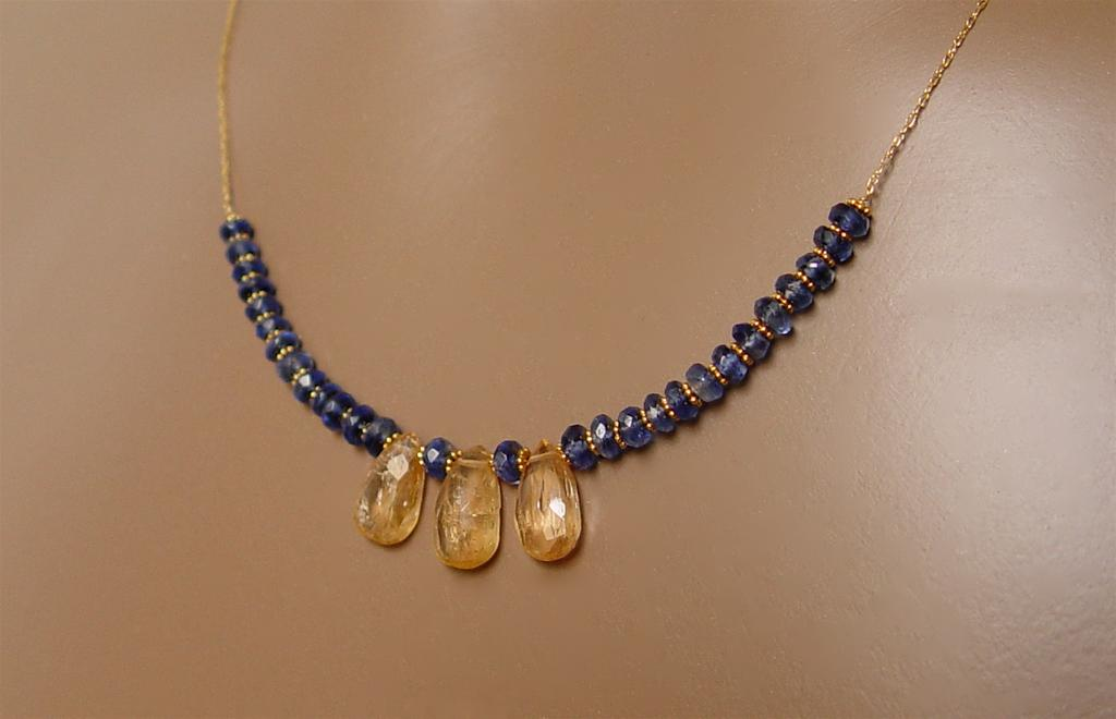 Opulentia - Cobalt Kyanite, Imperial Topaz and 18K + 14K Gold Necklace