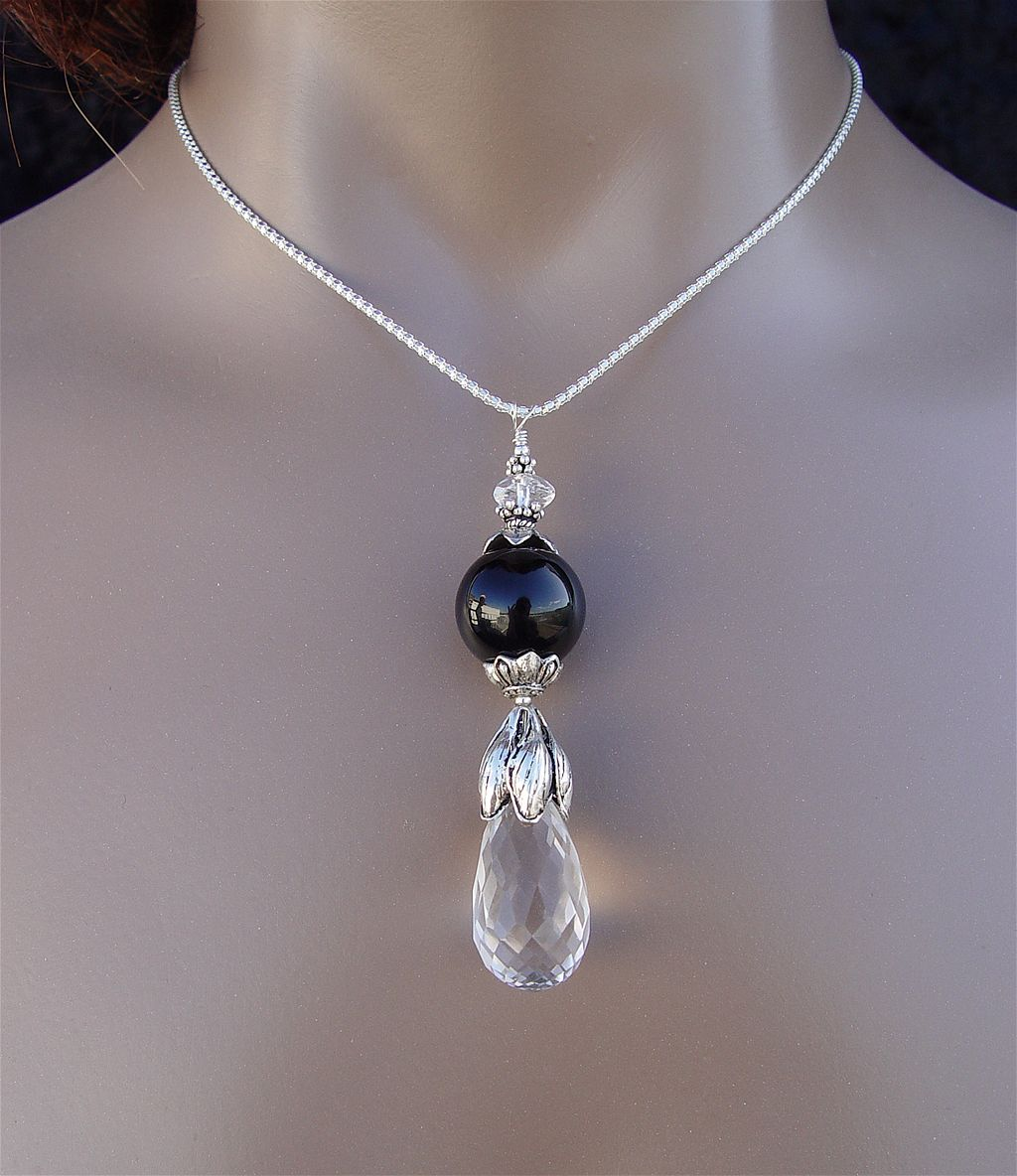 Somnia Haemalia Proserpinae - Natural Quartz, Black Onyx and Sterling Silver Necklace