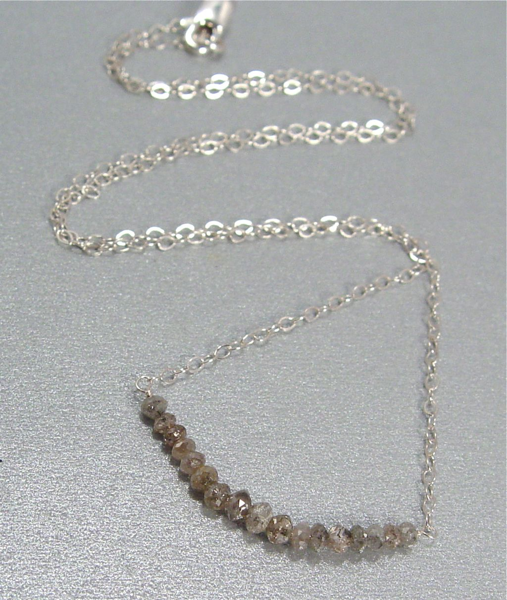 Flumina - Dark Silver Diamond and Sterling Silver Necklace