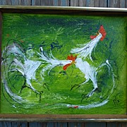 Fighting Roosters  Painting Oil on Canvas Signed